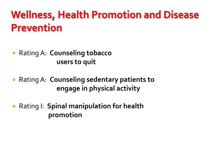 Wellness, Health Promotion and Disease Prevention