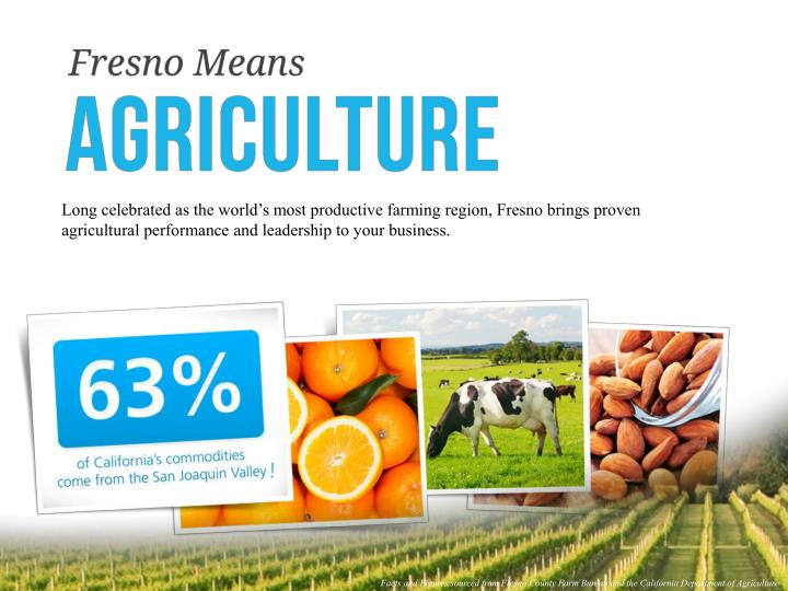 Long celebrated as the world's most productive farming region, Fresno brings proven agricultural performance and leadership to your business.