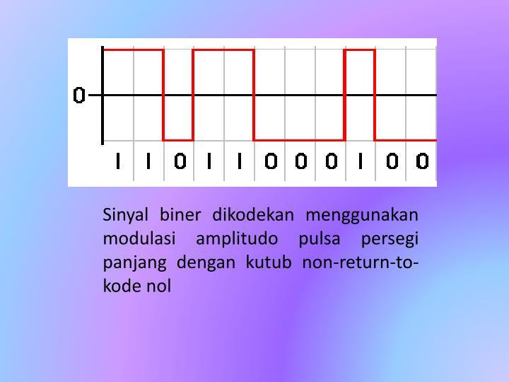 Sinyal biner dikodekan menggunakan modulasi amplitudo pulsa persegi panjang dengan kutub non-return-to-kode nol