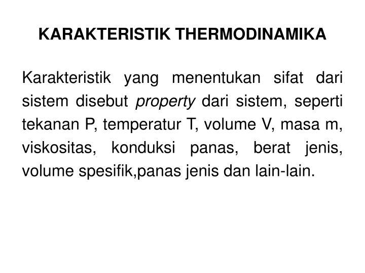 KARAKTERISTIK THERMODINAMIKA