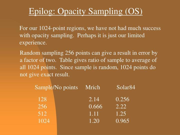Epilog: Opacity Sampling (OS)