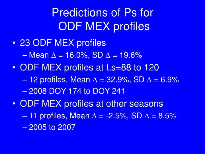 Predictions of Ps for