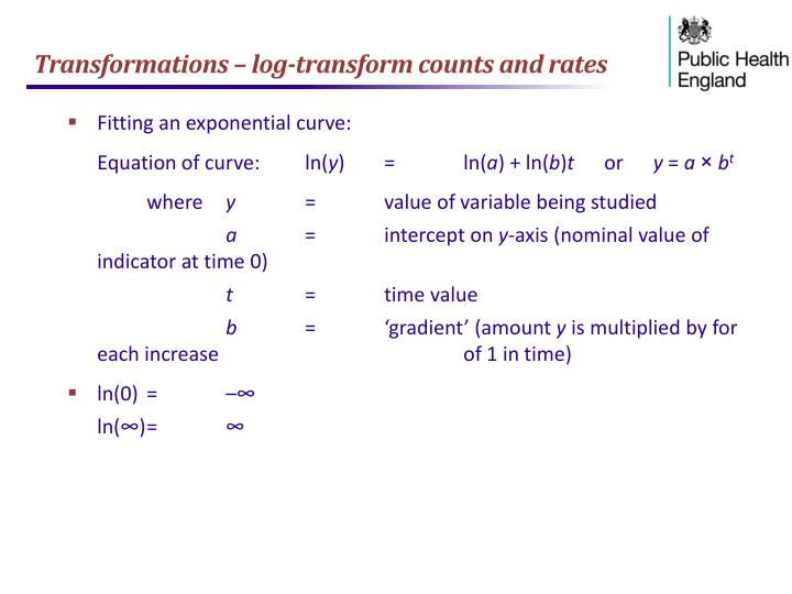 Transformations – log-transform counts and rates