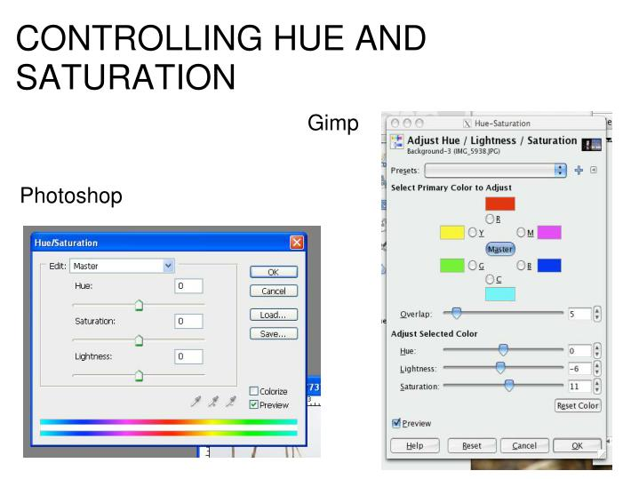 CONTROLLING HUE AND SATURATION
