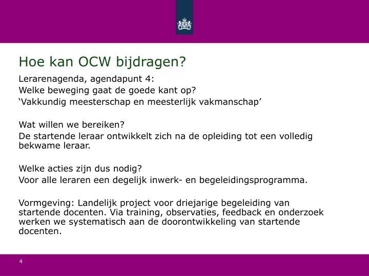 Hoe kan OCW bijdragen?