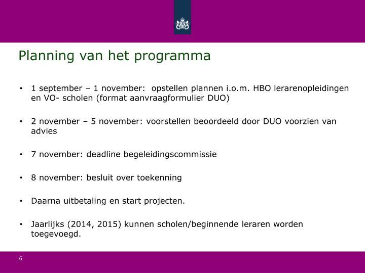 Planning van het programma