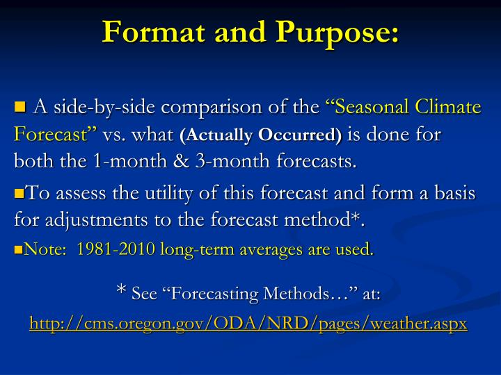 Format and Purpose: