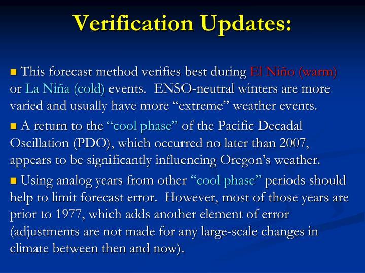 Verification Updates:
