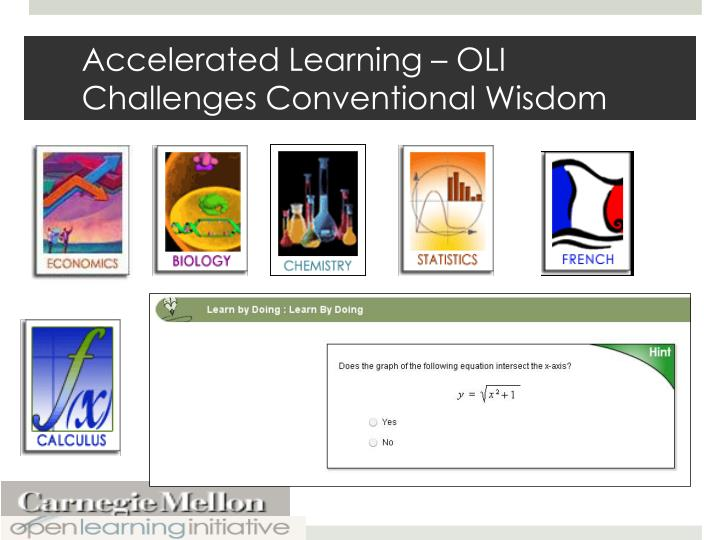 Accelerated Learning – OLI Challenges Conventional Wisdom