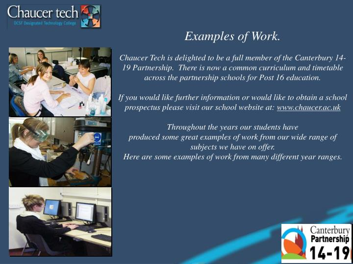 Examples of Work.