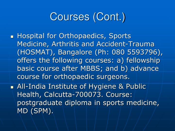 Courses (Cont.)