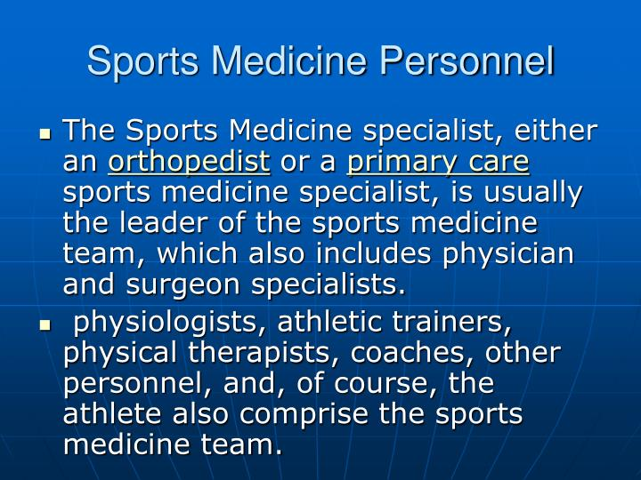 Sports Medicine Personnel