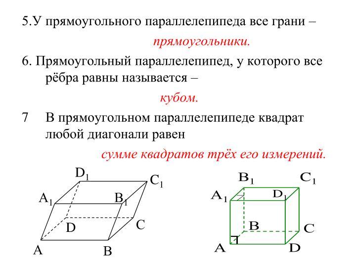 5.У прямоугольного параллелепипеда все грани –