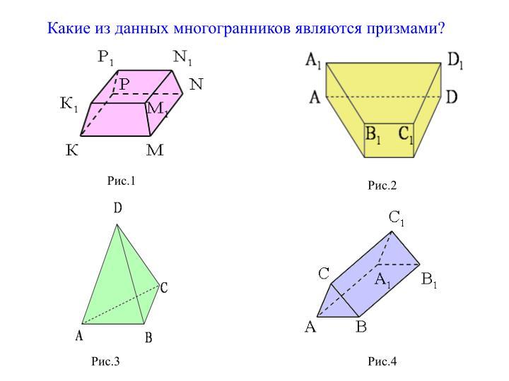 Какие из данных многогранников являются призмами?