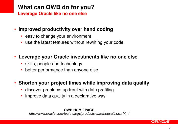 What can OWB do for you?