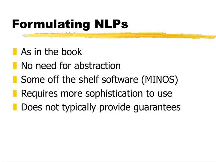 Formulating NLPs
