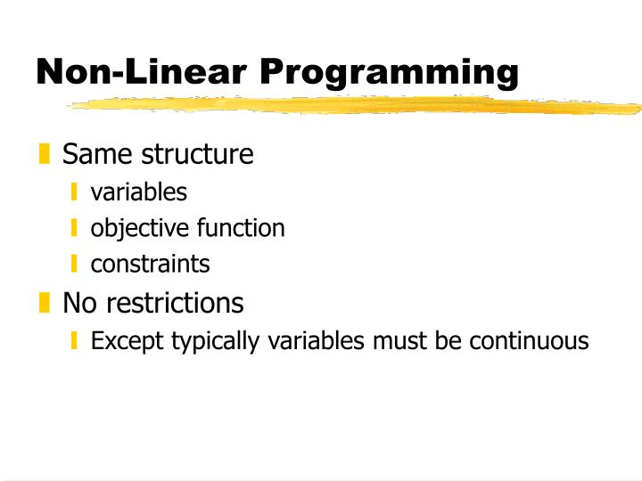 Non-Linear Programming