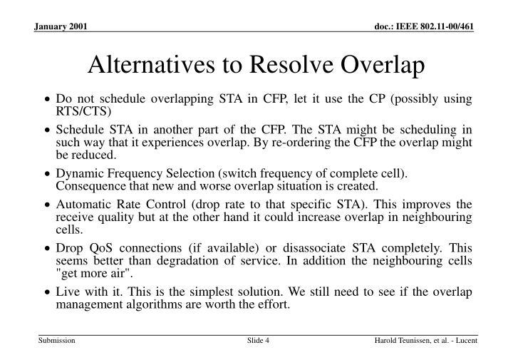 Alternatives to Resolve Overlap