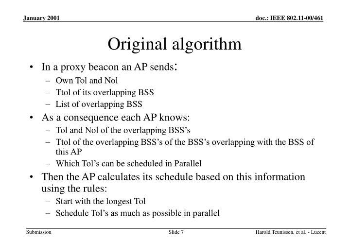 Original algorithm