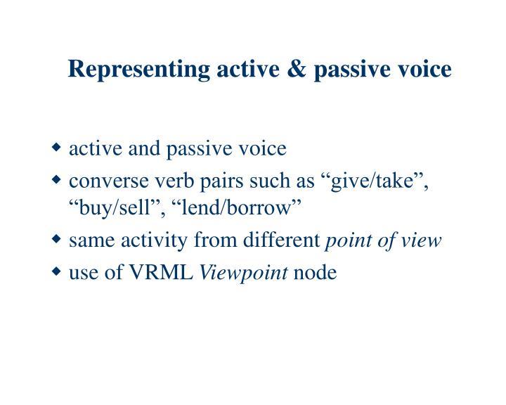 Representing active & passive voice