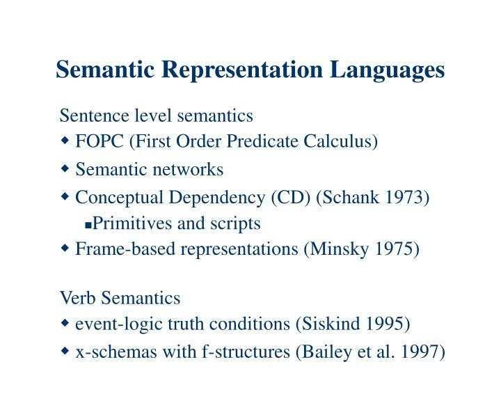 Semantic Representation Languages