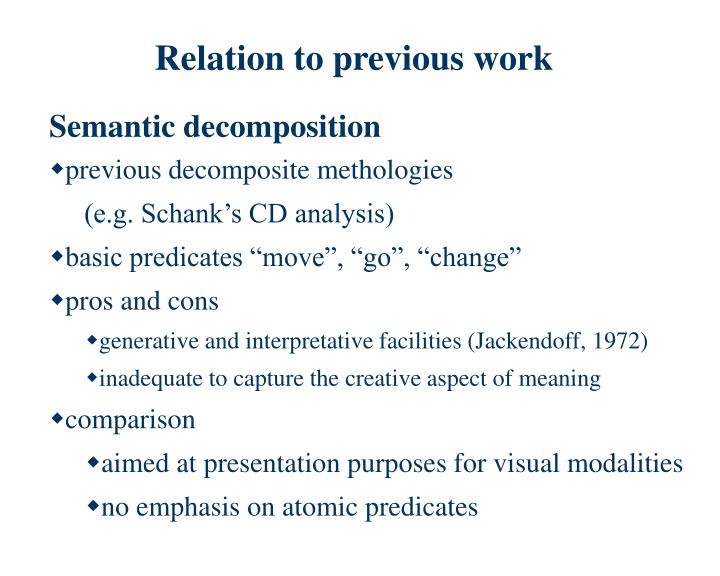 Relation to previous work