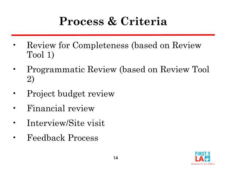 Process & Criteria