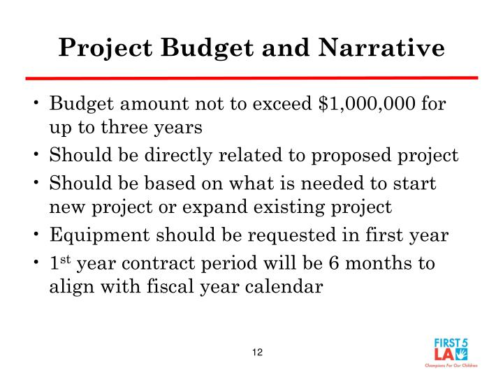 Project Budget and Narrative