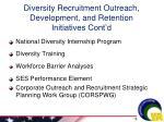 diversity recruitment outreach development and retention initiatives cont d