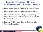 diversity recruitment outreach development and retention initiatives