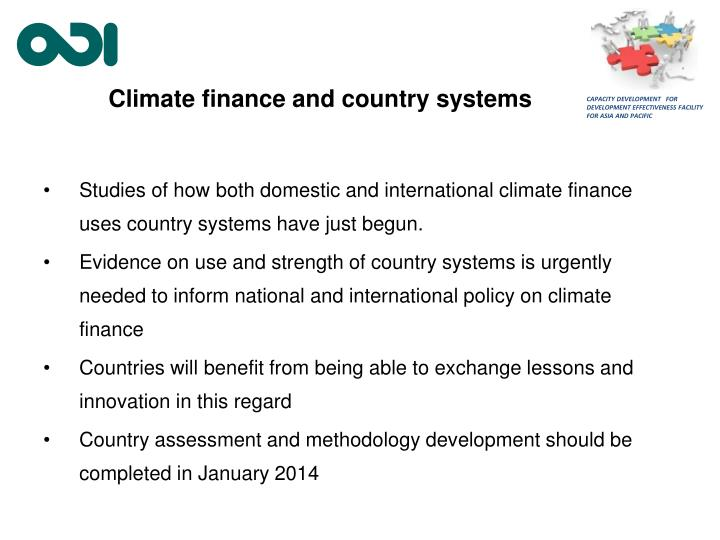 Climate finance and country systems