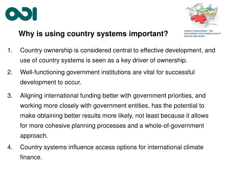 Why is using country systems important?