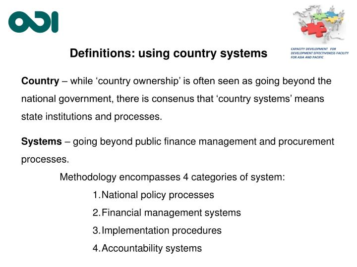 Definitions: using country systems