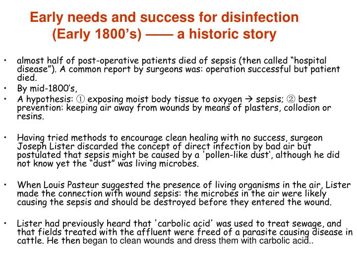 Early needs and success for disinfection (Early 1800's) —— a historic story