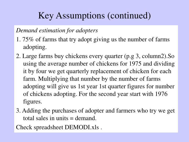Key Assumptions (continued)