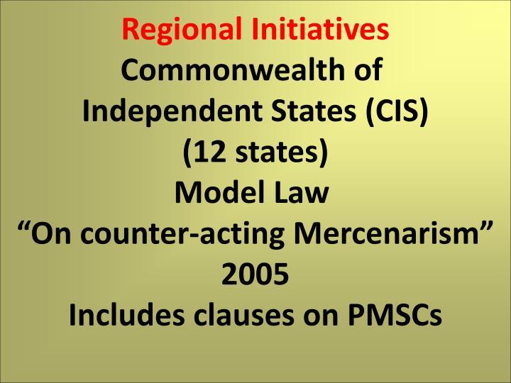 Regional Initiatives