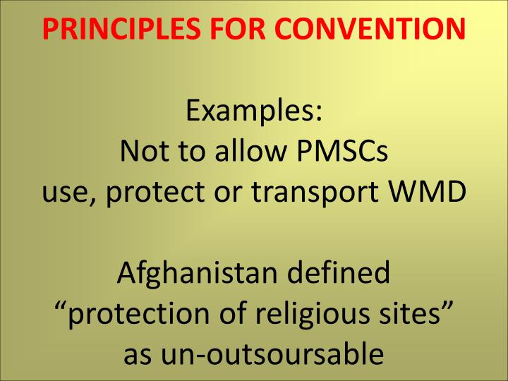 PRINCIPLES FOR CONVENTION