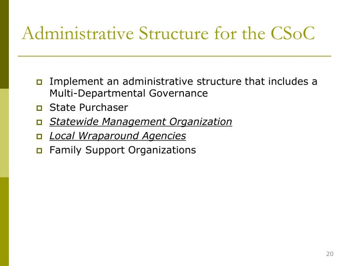 Administrative Structure for the CSoC