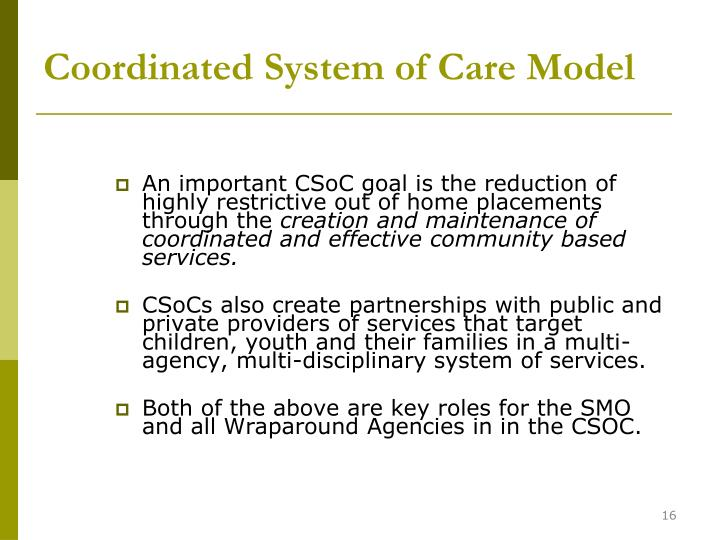 Coordinated System of Care Model