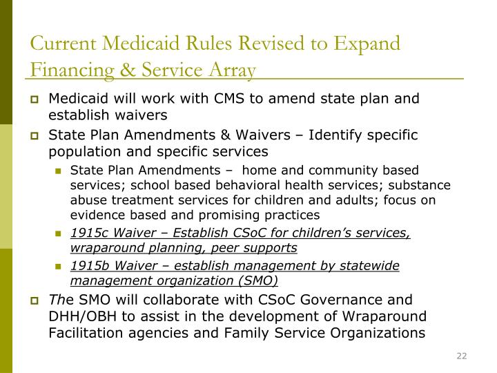 Current Medicaid Rules Revised to Expand Financing & Service Array