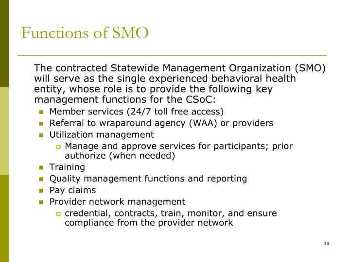 Functions of SMO