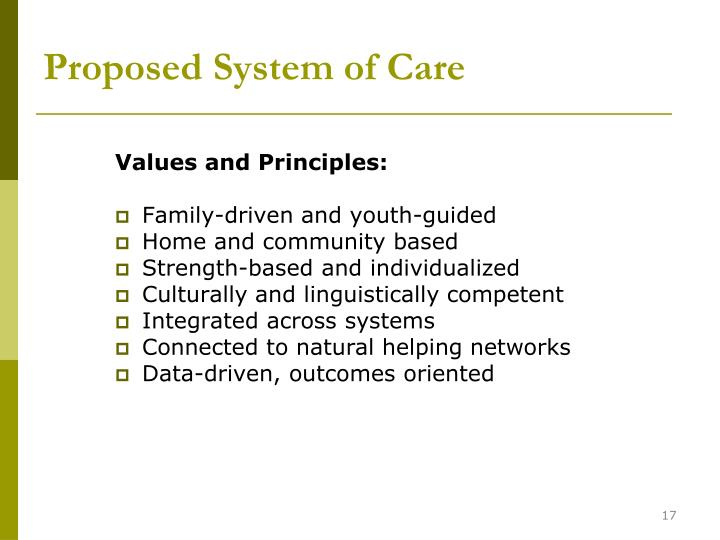 Proposed System of Care
