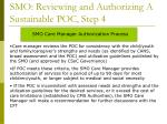 smo reviewing and authorizing a sustainable poc step 4