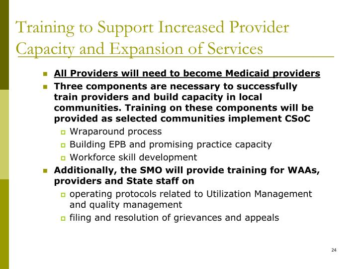 Training to Support Increased Provider Capacity and Expansion of Services