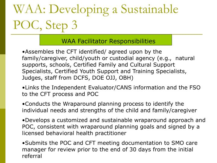 WAA: Developing a Sustainable POC, Step 3