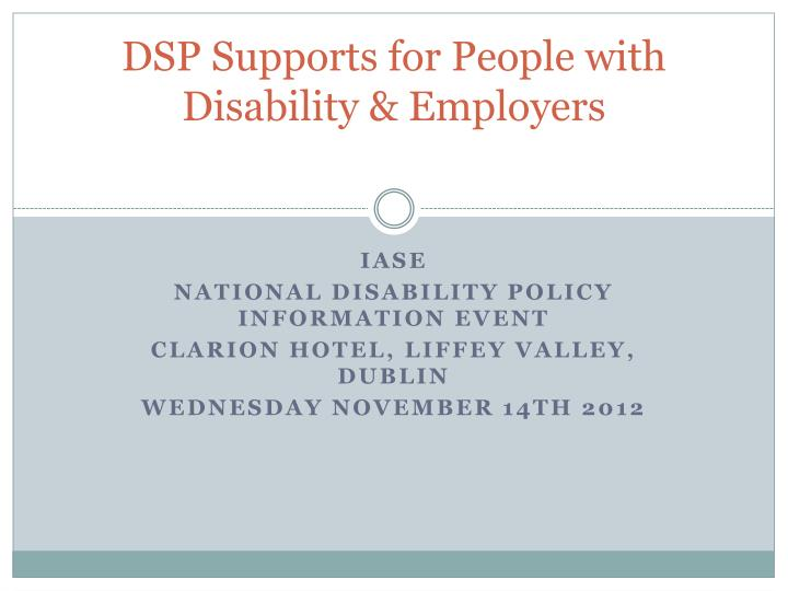 dsp supports for people with disability employers