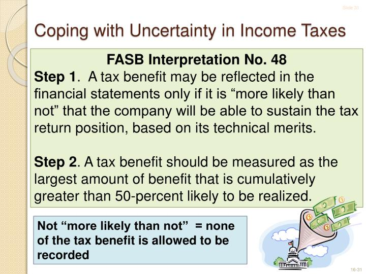 Coping with Uncertainty in Income Taxes