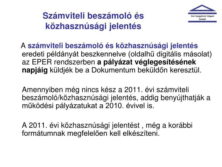 Számviteli beszámoló és közhasznúsági jelentés