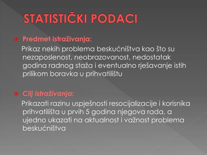 STATISTIČKI PODACI