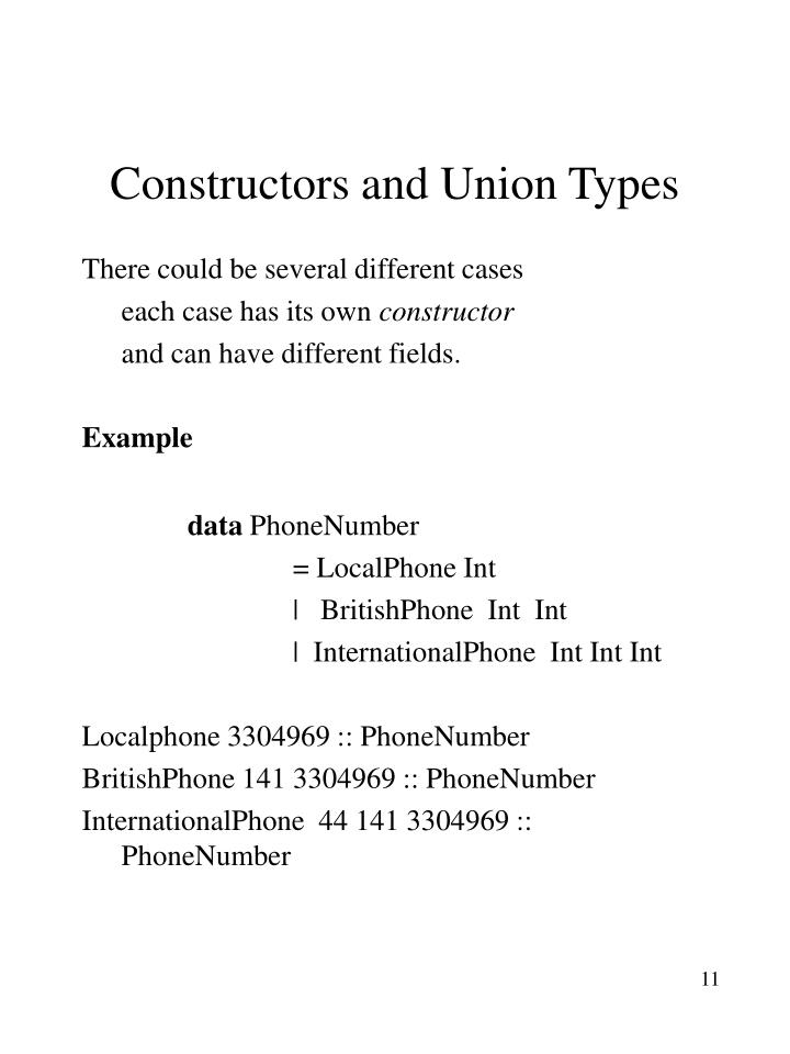 Constructors and Union Types